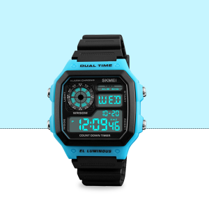Water Proof Rubber Strapped Sports Wrist Watch - Blue