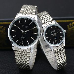 Stainless Steel Couple Analogue Wrist Watches - Black
