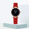 Golden Dial Leather Strap Analogue Wrist Watch - Red