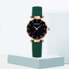 Golden Dial Leather Strap Analogue Wrist Watch - Green