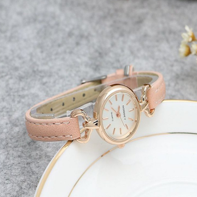 Leather Strap Golden Analogue Wrist Watch - Pink