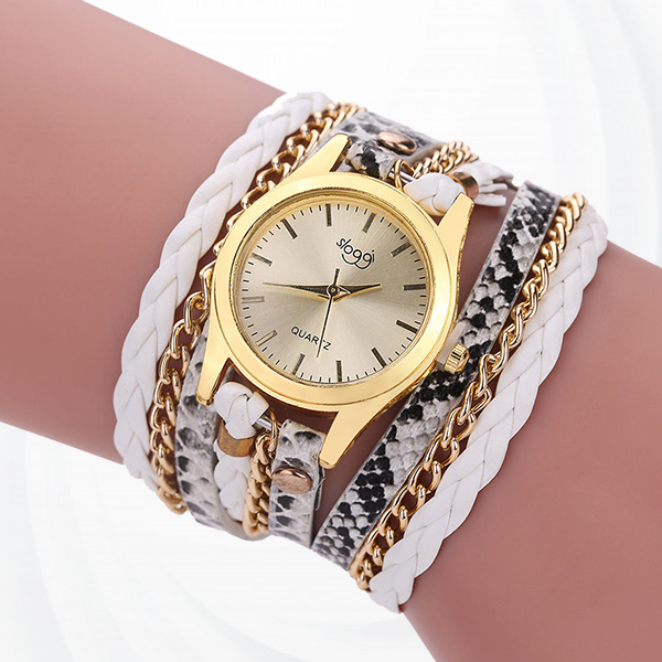 Party Wear Bracelet Band Analogue Wrist Watch - White