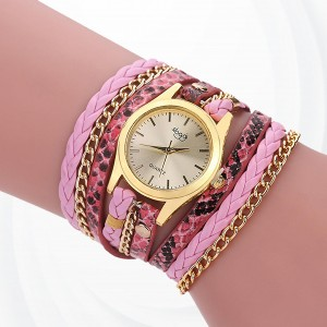 Party Wear Bracelet Band Analogue Wrist Watch - Pink