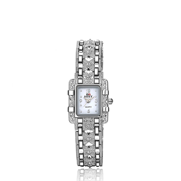 Square Shaped Crystal Decorated Bracelet Watch - White