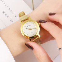 Mesh Roman White Dial Exclusive Wrist Watches - Golden