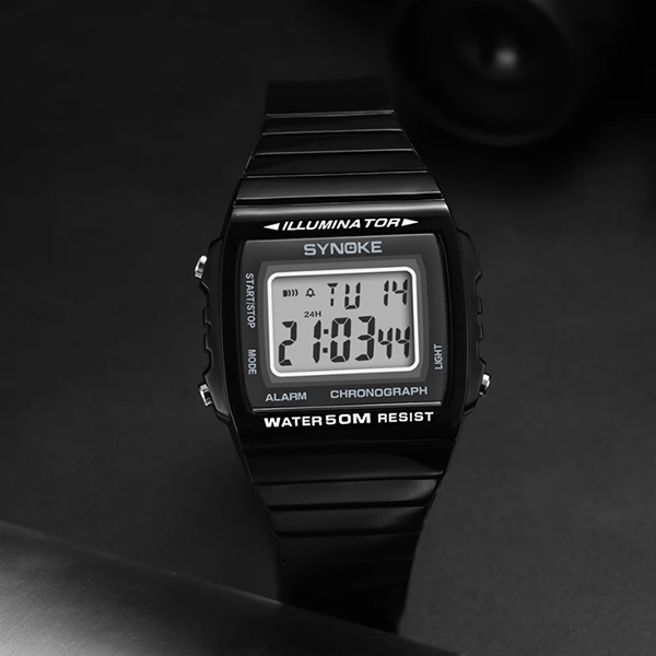 Engraved Multiple Functional Sports Wrist Watch - Black