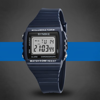 Engraved Multiple Functional Sports Wrist Watch - Blue