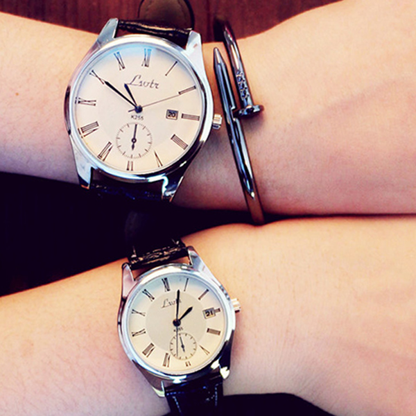 Leather Strappy White Roman Dial Couple Wrist Watch