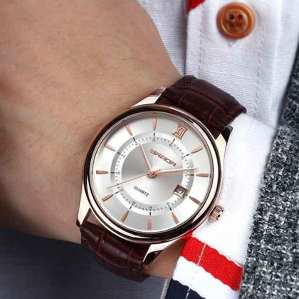 Luxury Brown Leather Strapped Analogue Watch - Brown