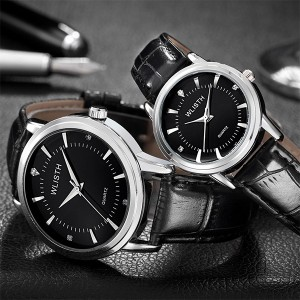 Leather Strapped Pair Waterproof Couple Wrist Watches - Black