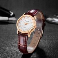 Leather Strapped Pair Waterproof Women Wrist Watches - Brown