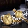 Designers Wear Stainless Luxury Couple Watch - Golden
