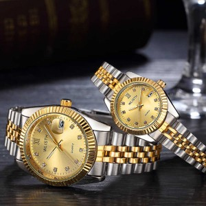 Designers Wear Stainless Luxury Couple Watch - Golden