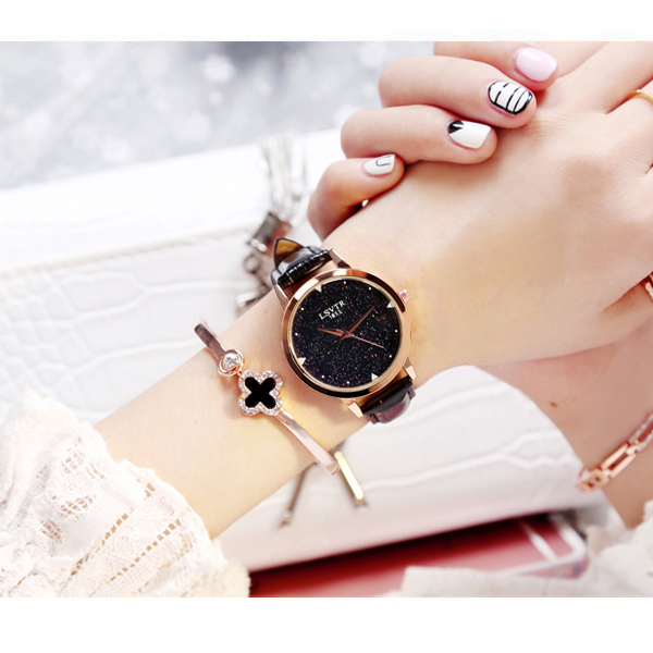 Black Leather Strappy Glittered Analogue Watch
