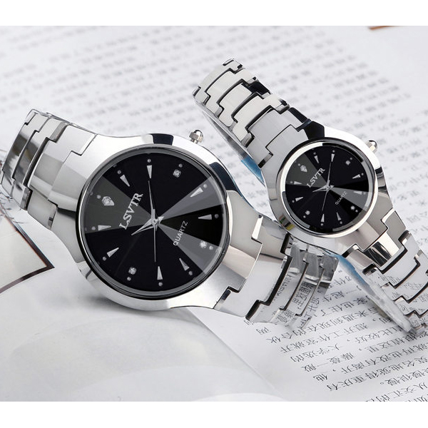 Stainless Steel Black Dial Premium Couple Watch